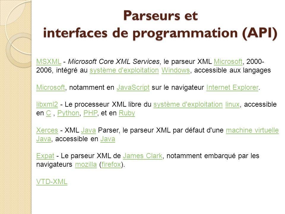 Parseurs et interfaces de programmation (API)