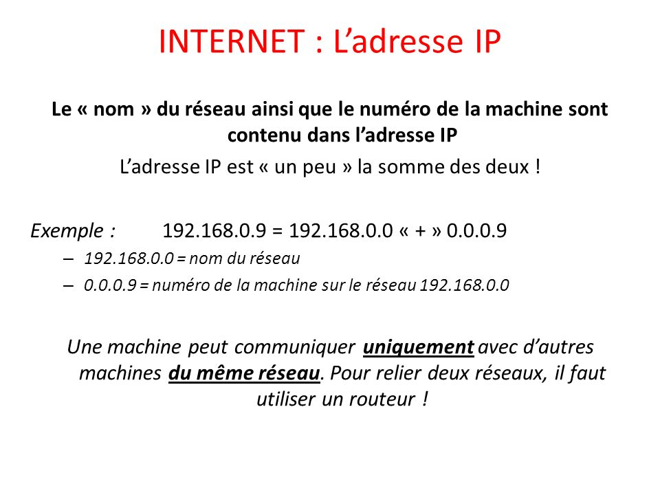 INTERNET : L'adresse IP