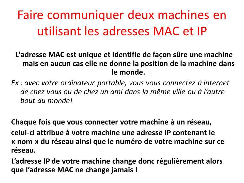 Faire communiquer deux machines en utilisant les adresses MAC et IP