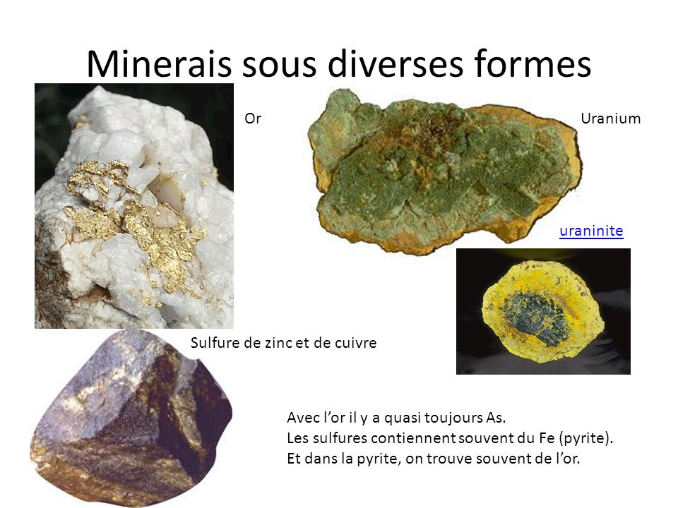 Minerais sous diverses formes