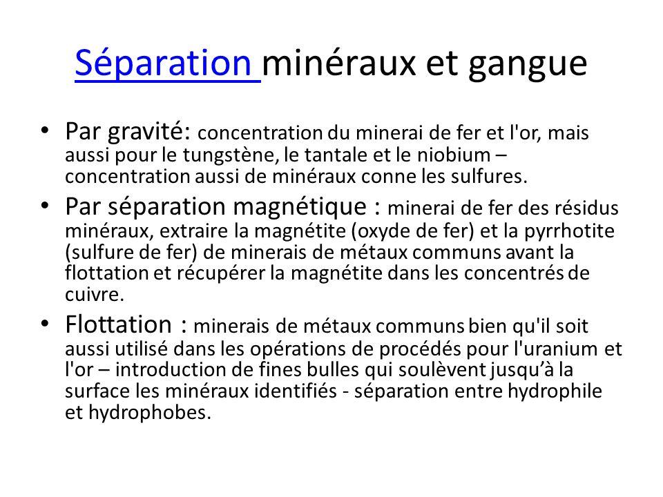 Séparation minéraux et gangue