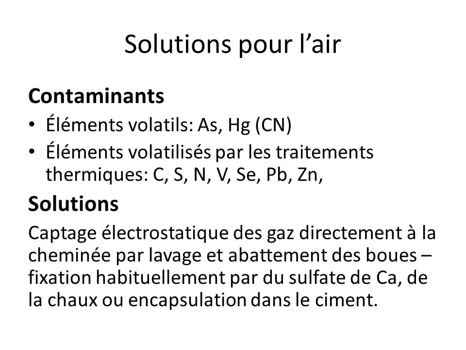Solutions pour l'air Contaminants Solutions
