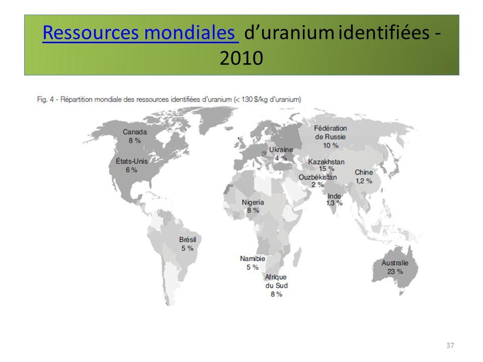Ressources mondiales d'uranium identifiées - 2010