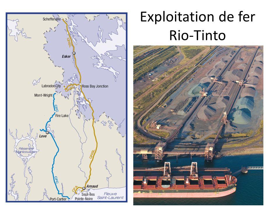 Exploitation de fer Rio-Tinto