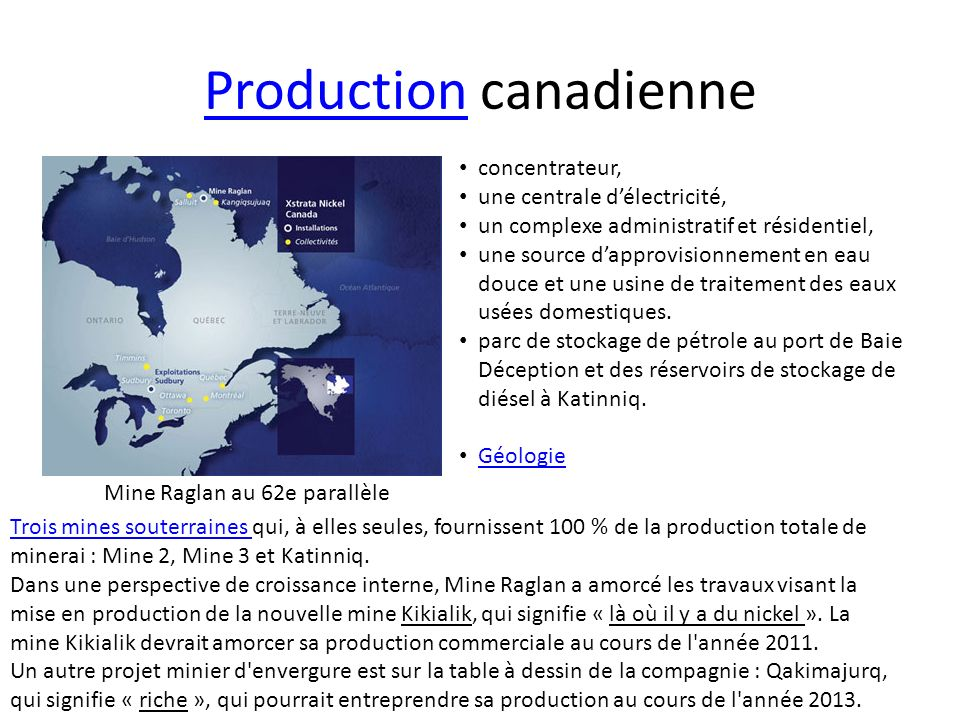 Production canadienne