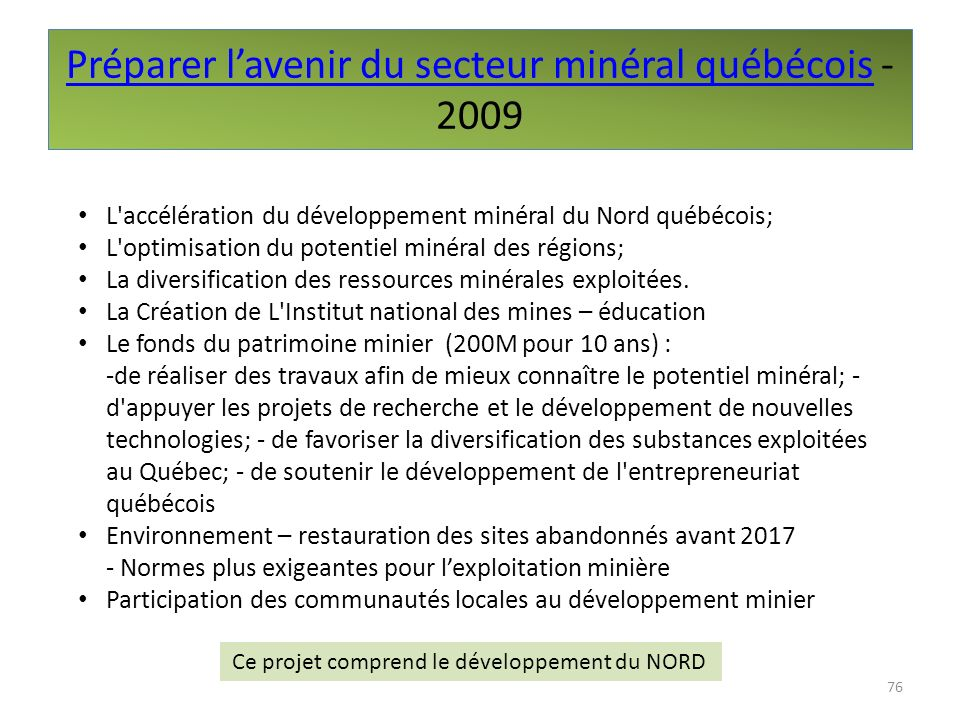 Préparer l'avenir du secteur minéral québécois - 2009