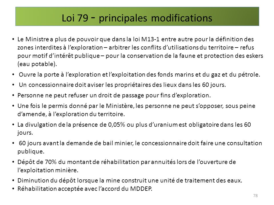 Loi 79 - principales modifications