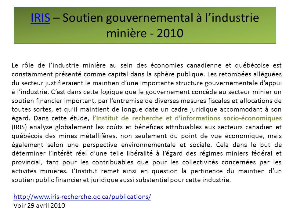 IRIS – Soutien gouvernemental à l'industrie minière - 2010