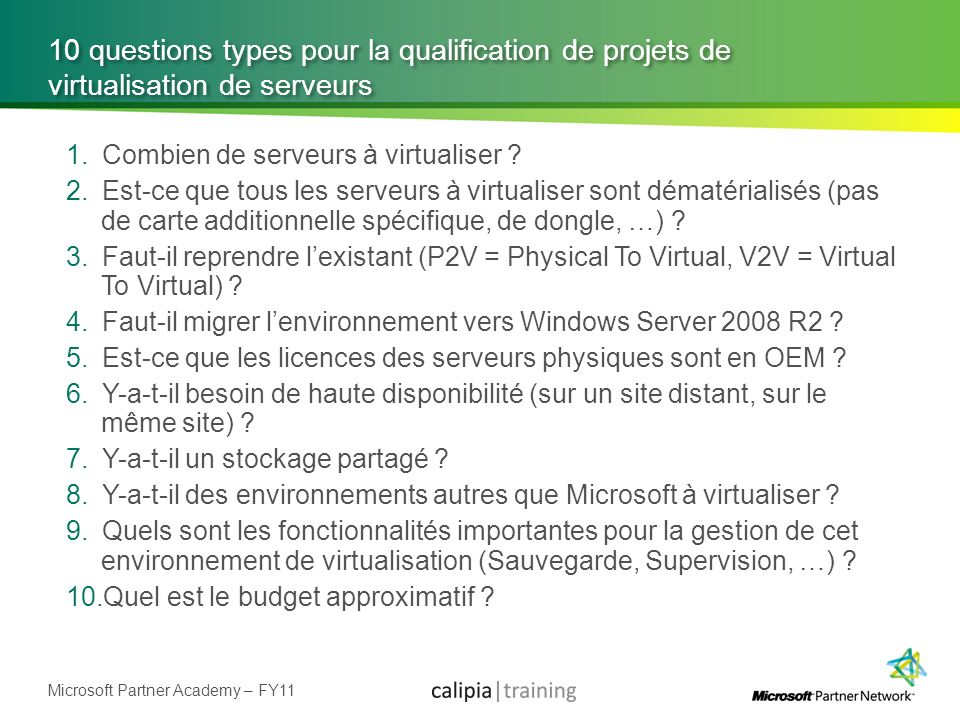 10 questions types pour la qualification de projets de virtualisation de serveurs