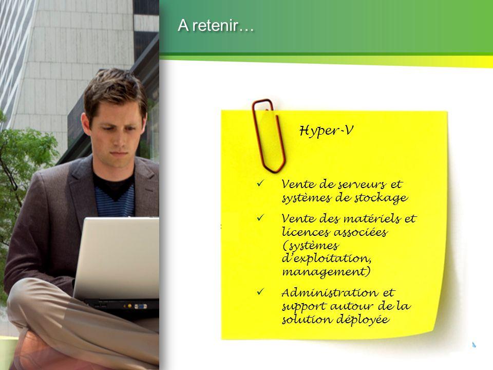 A retenir… Hyper-V Vente de serveurs et systèmes de stockage