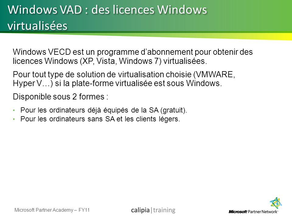 Windows VAD : des licences Windows virtualisées