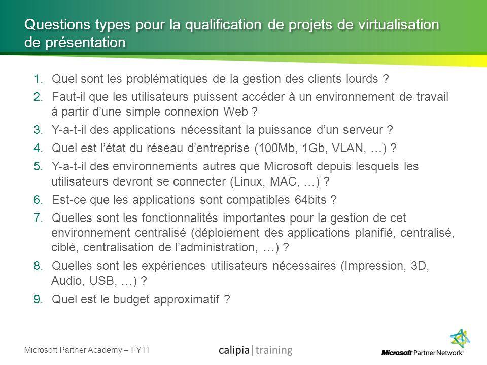 Questions types pour la qualification de projets de virtualisation de présentation