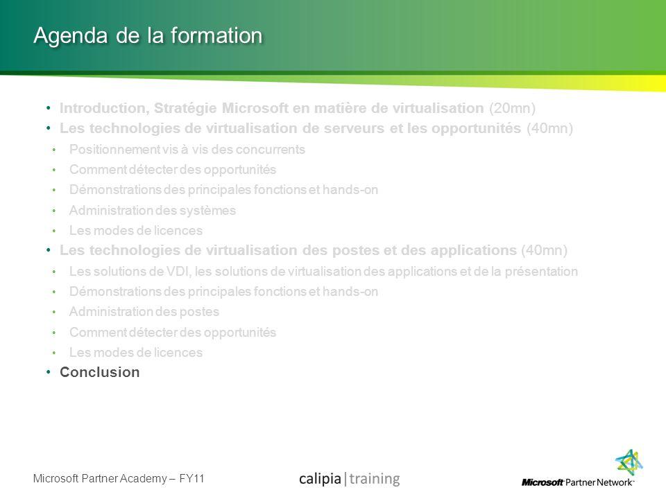 Agenda de la formation Introduction, Stratégie Microsoft en matière de virtualisation (20mn)