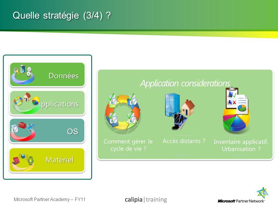 Quelle stratégie (3/4) Application considerations Données
