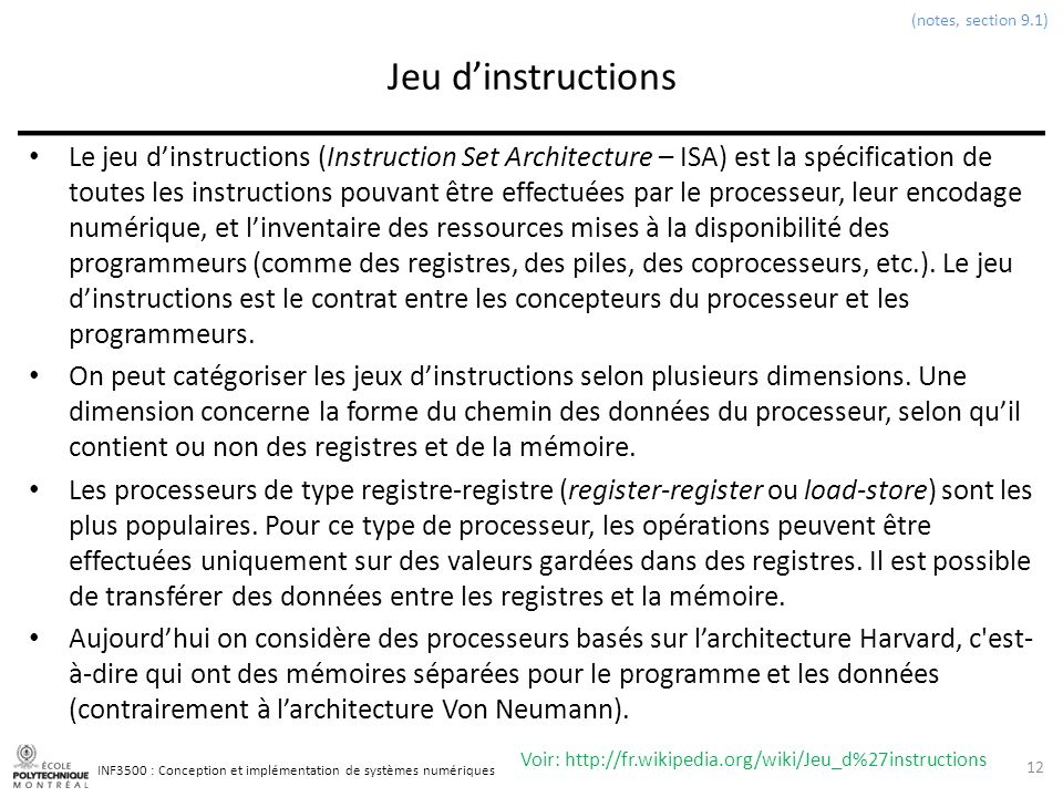 (notes, section 9.1) Jeu d'instructions.