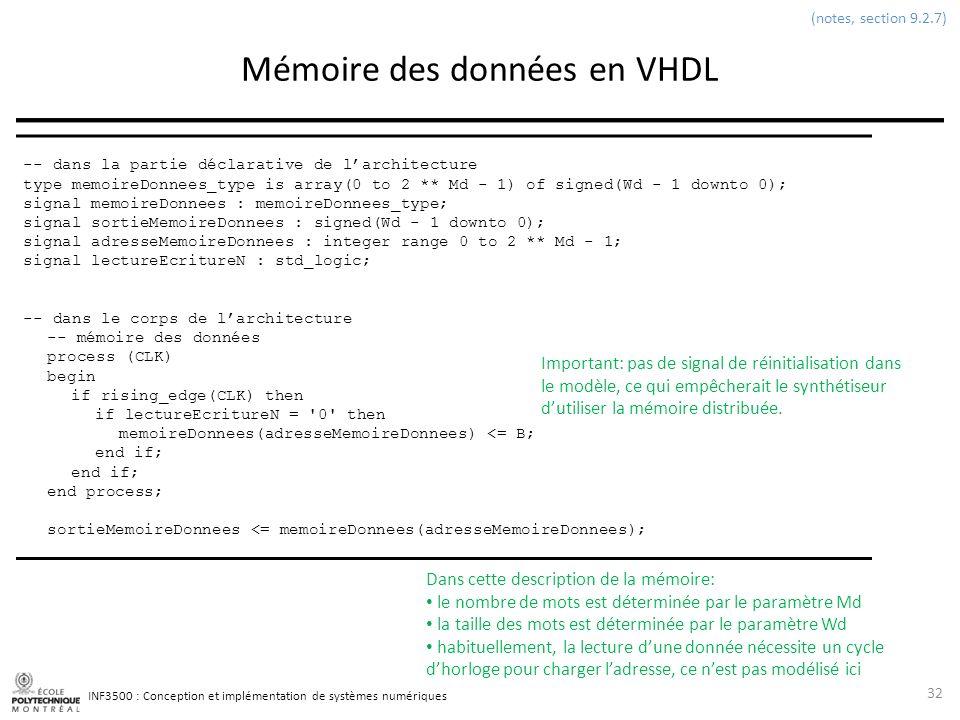 Mémoire des données en VHDL