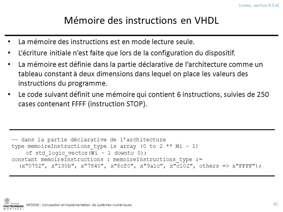 Mémoire des instructions en VHDL