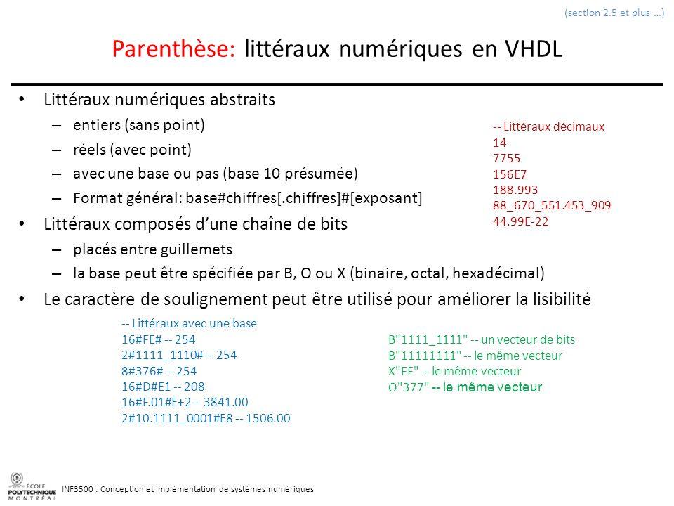 Parenthèse: littéraux numériques en VHDL
