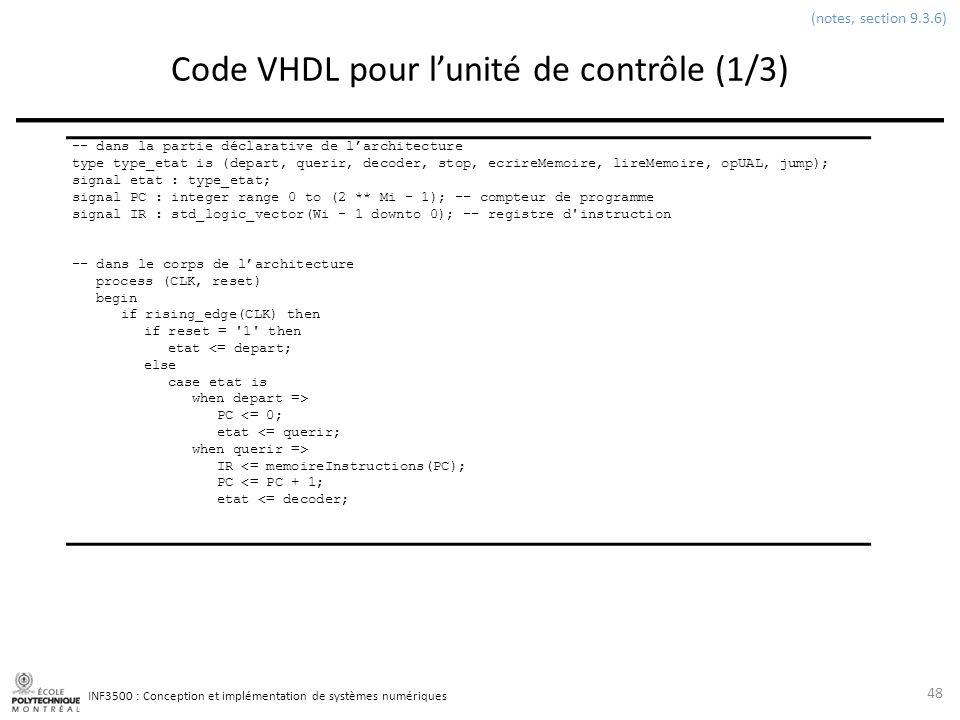 Code VHDL pour l'unité de contrôle (1/3)