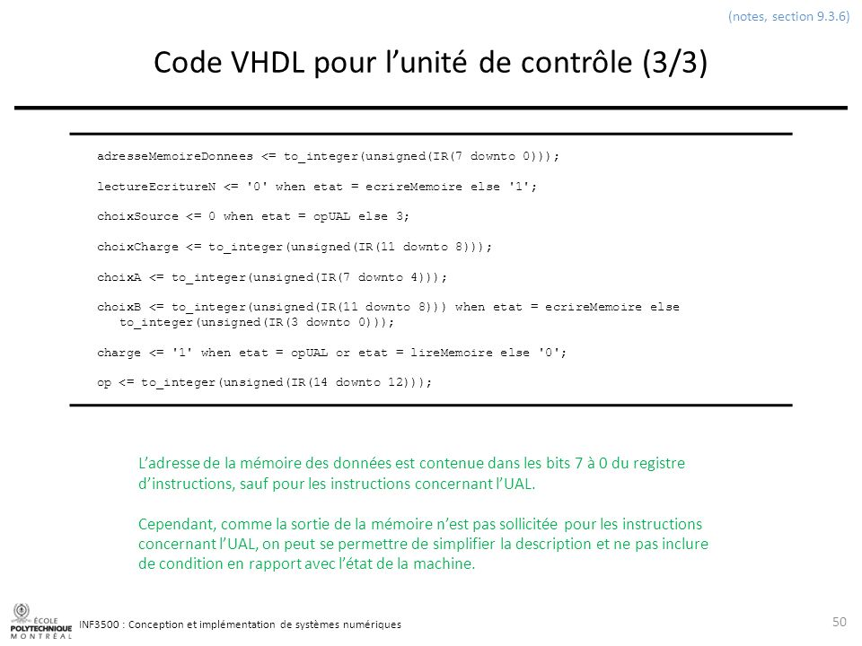 Code VHDL pour l'unité de contrôle (3/3)