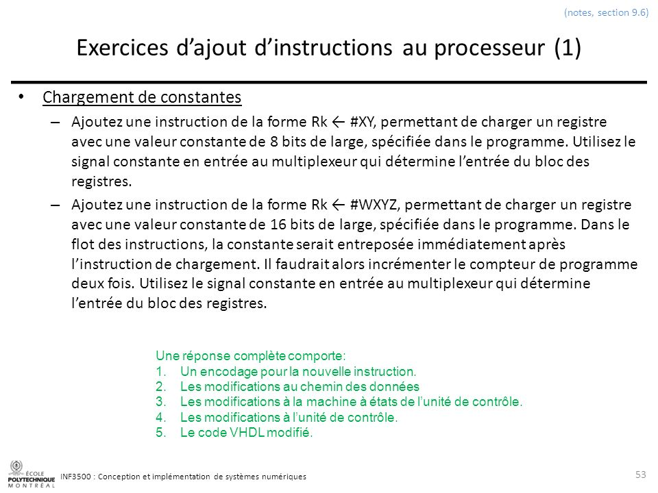 Exercices d'ajout d'instructions au processeur (1)