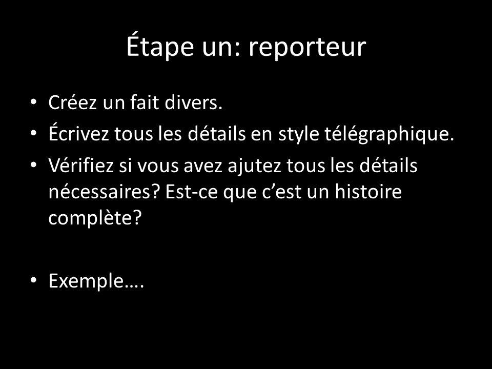Étape un: reporteur Créez un fait divers.