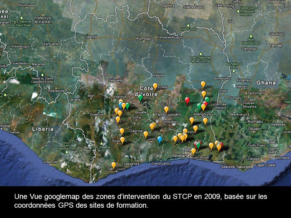 Eg.: Une Vue googlemap des zones d'intervention du STCP en 2009, basée sur les coordonnées GPS des sites de formation.