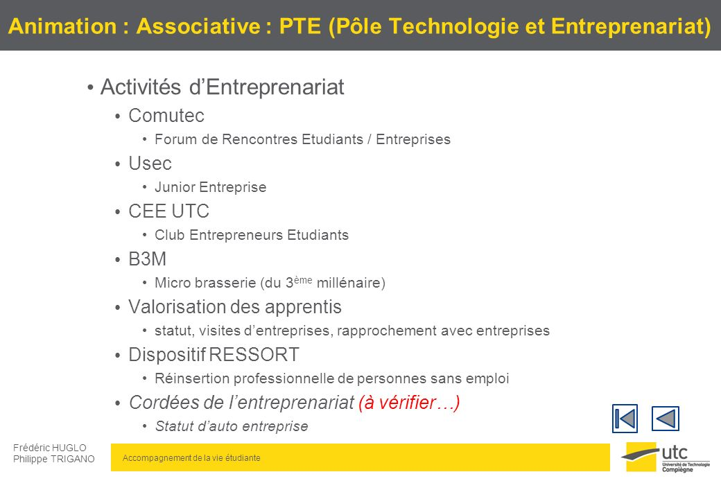 Animation : Associative : PTE (Pôle Technologie et Entreprenariat)