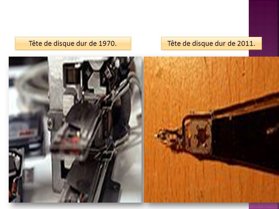 Tête de disque dur de 1970. Tête de disque dur de 2011.