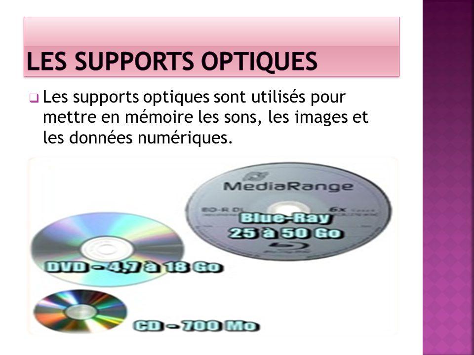 Les Supports optiques Les supports optiques sont utilisés pour mettre en mémoire les sons, les images et les données numériques.