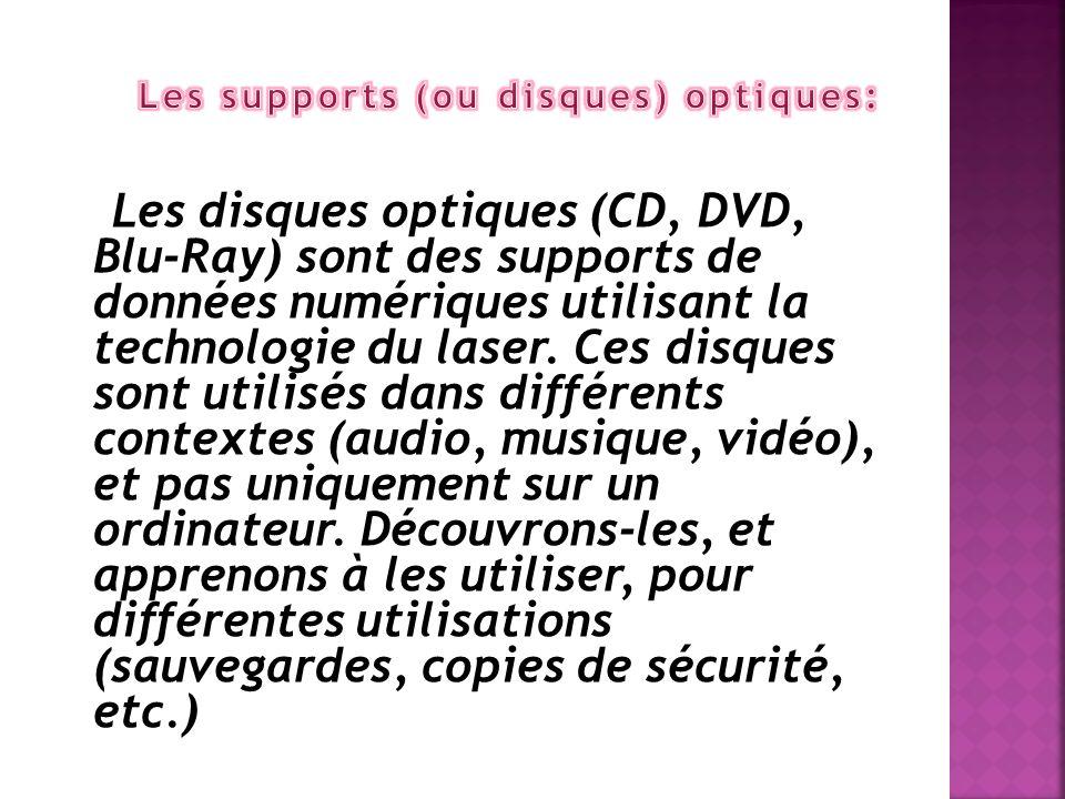 Les supports (ou disques) optiques: