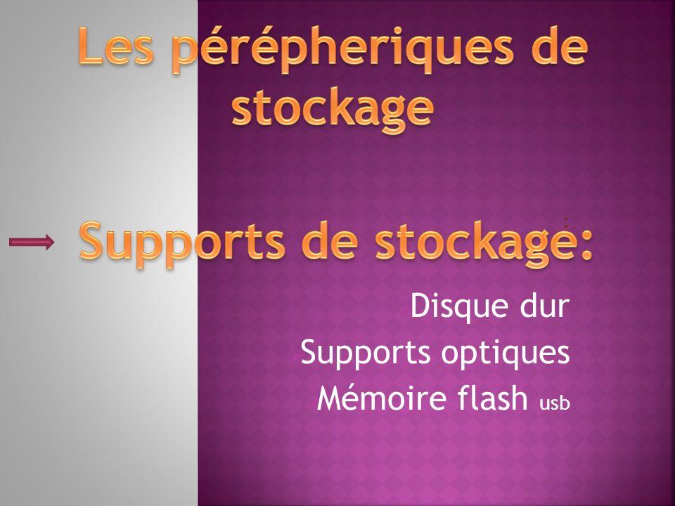 : Disque dur Supports optiques Mémoire flash usb