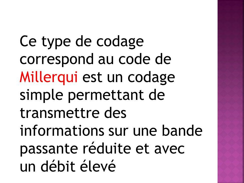 Ce type de codage correspond au code de Millerqui est un codage simple permettant de transmettre des informations sur une bande passante réduite et avec un débit élevé