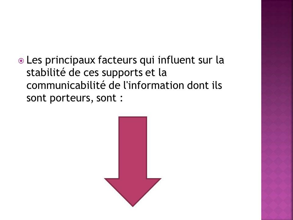Les principaux facteurs qui influent sur la stabilité de ces supports et la communicabilité de l information dont ils sont porteurs, sont :