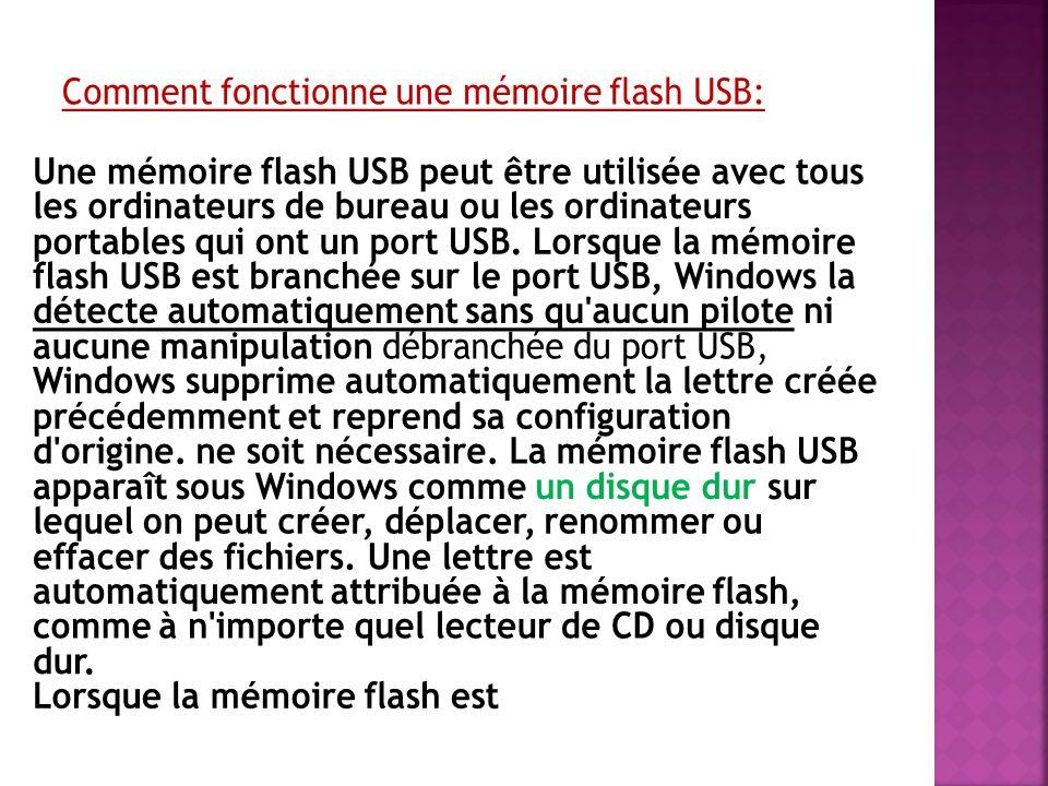 Comment fonctionne une mémoire flash USB: Une mémoire flash USB peut être utilisée avec tous les ordinateurs de bureau ou les ordinateurs portables qui ont un port USB.