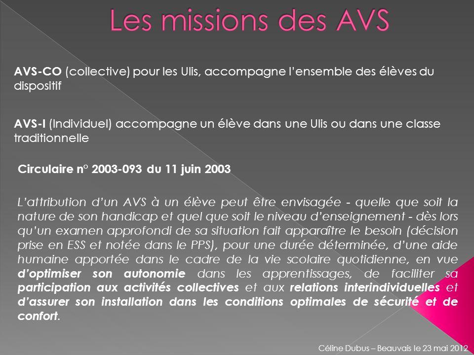 Les missions des AVS AVS-CO (collective) pour les Ulis, accompagne l'ensemble des élèves du dispositif.