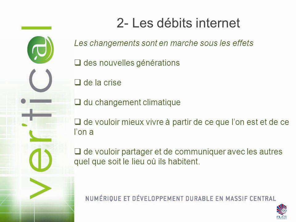 2- Les débits internet Les changements sont en marche sous les effets
