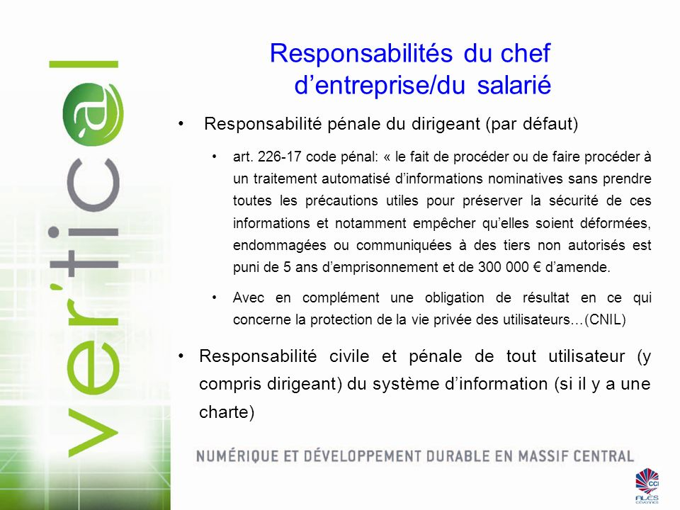 Responsabilités du chef d'entreprise/du salarié