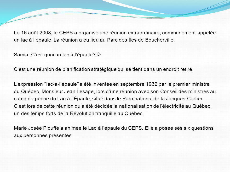 Le 16 août 2008, le CEPS a organisé une réunion extraordinaire, communément appelée un lac à l'épaule.