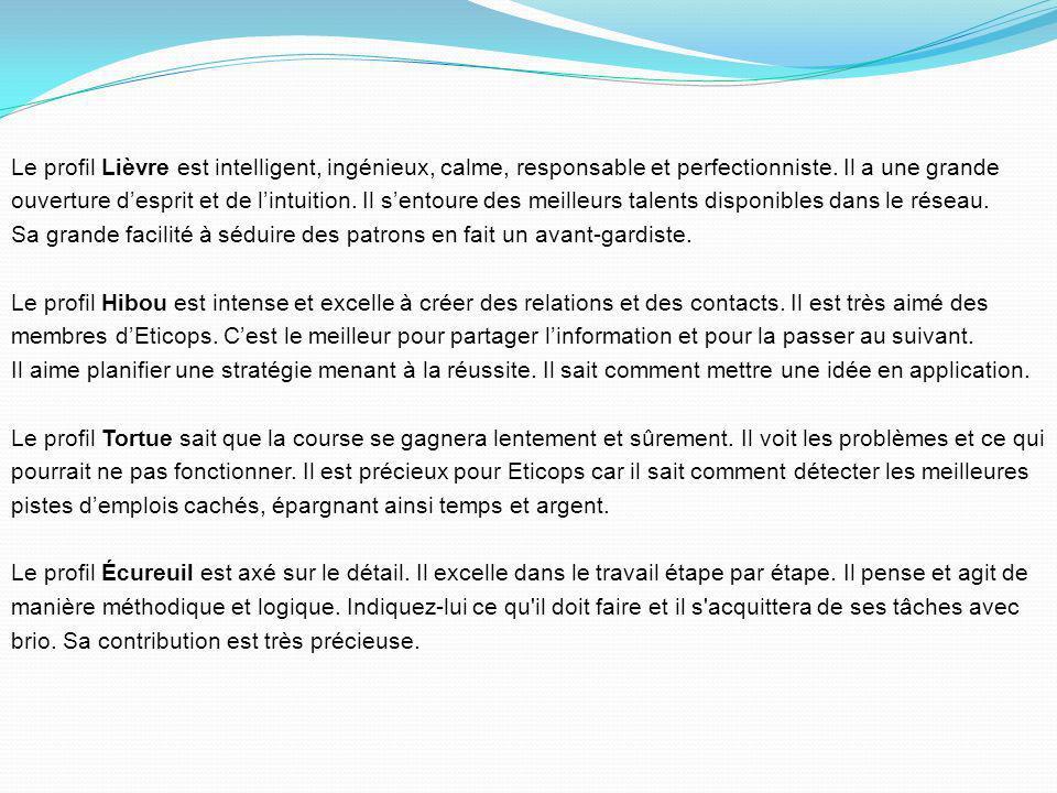 Le profil Lièvre est intelligent, ingénieux, calme, responsable et perfectionniste.
