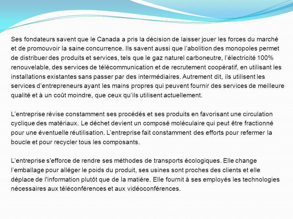 Ses fondateurs savent que le Canada a pris la décision de laisser jouer les forces du marché et de promouvoir la saine concurrence.