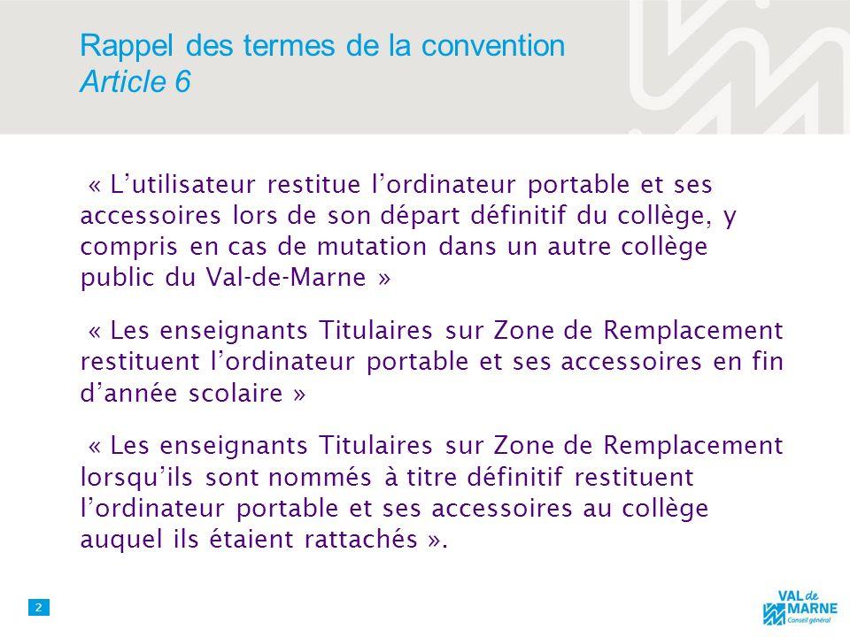 Rappel des termes de la convention Article 6