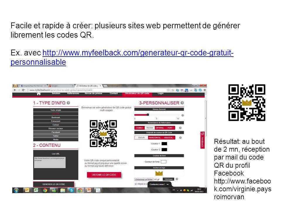 Facile et rapide à créer: plusieurs sites web permettent de générer librement les codes QR.