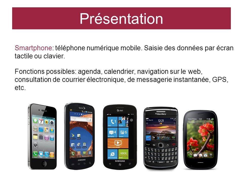 Présentation Smartphone: téléphone numérique mobile. Saisie des données par écran tactile ou clavier.