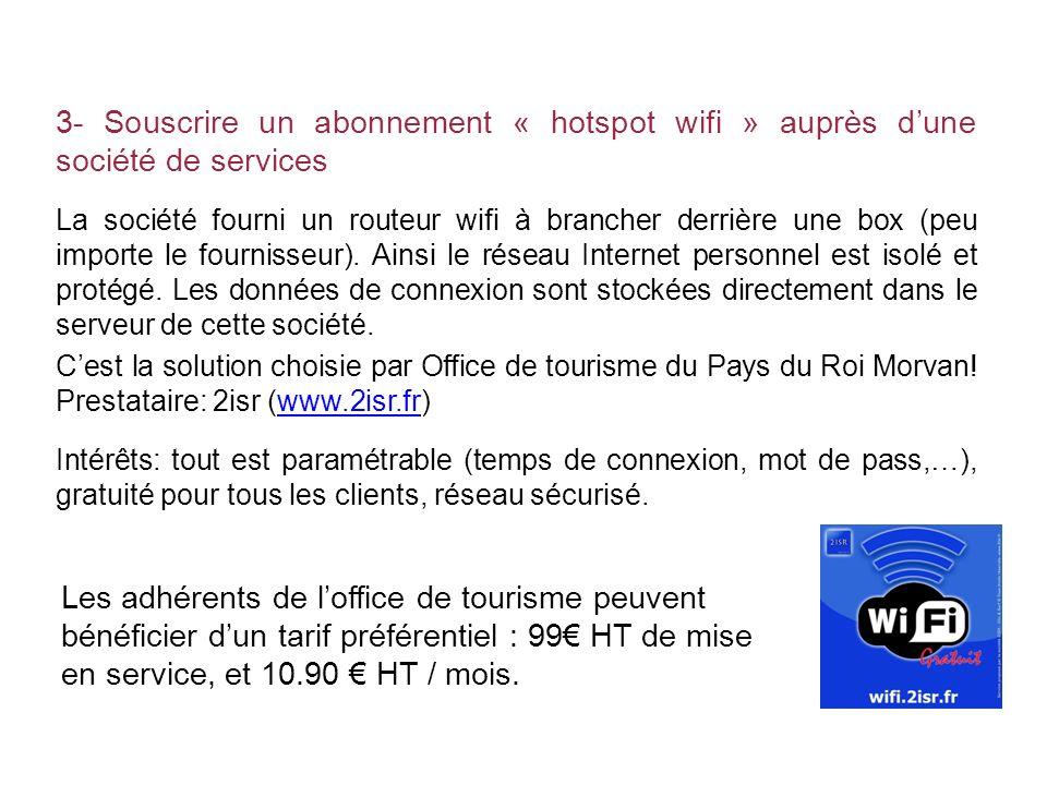 3- Souscrire un abonnement « hotspot wifi » auprès d'une société de services