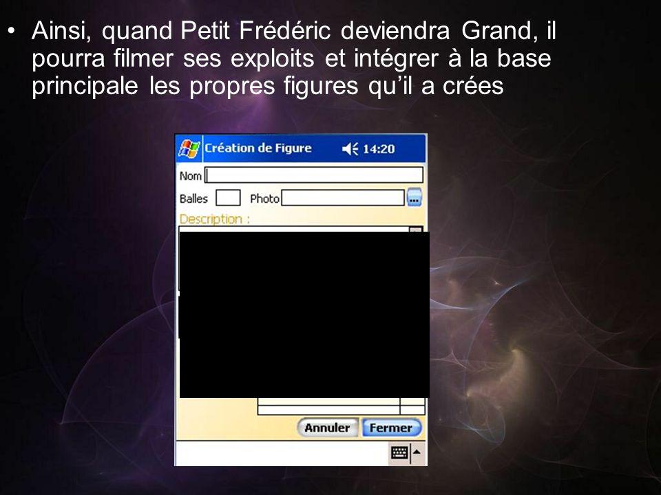 Ainsi, quand Petit Frédéric deviendra Grand, il pourra filmer ses exploits et intégrer à la base principale les propres figures qu'il a crées