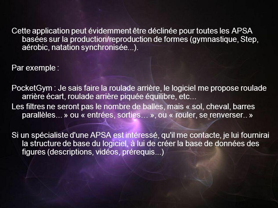 Cette application peut évidemment être déclinée pour toutes les APSA basées sur la production/reproduction de formes (gymnastique, Step, aérobic, natation synchronisée...).