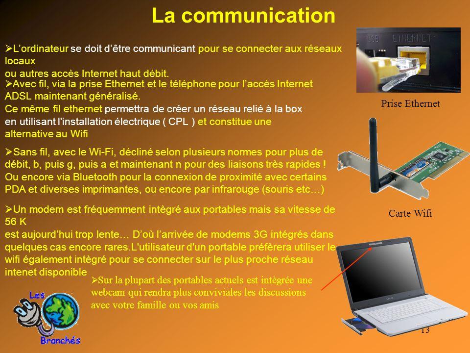 La communication Prise Ethernet. L'ordinateur se doit d'être communicant pour se connecter aux réseaux locaux.