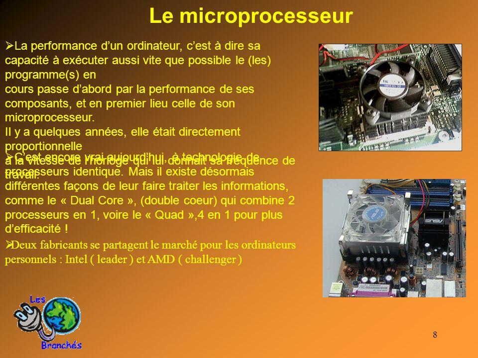 Le microprocesseur La performance d'un ordinateur, c'est à dire sa capacité à exécuter aussi vite que possible le (les) programme(s) en.