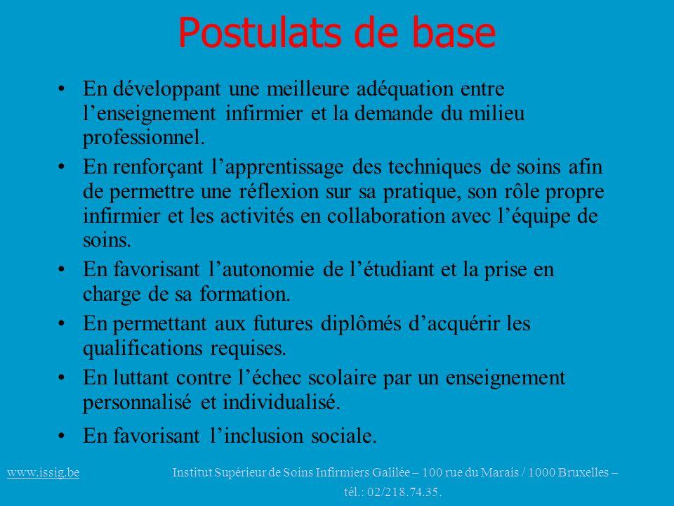 Postulats de base En développant une meilleure adéquation entre l'enseignement infirmier et la demande du milieu professionnel.